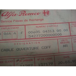 CABLE OUVERTURE CAPOT ALFA ROMEO 33 - EPA30 - .