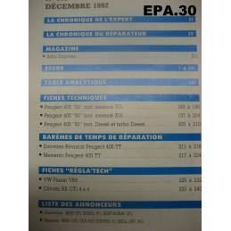 "RTA EA PEUGEOT 405 ""93""  TOUT TYPES SAUF T16 4X4 - EPA30."