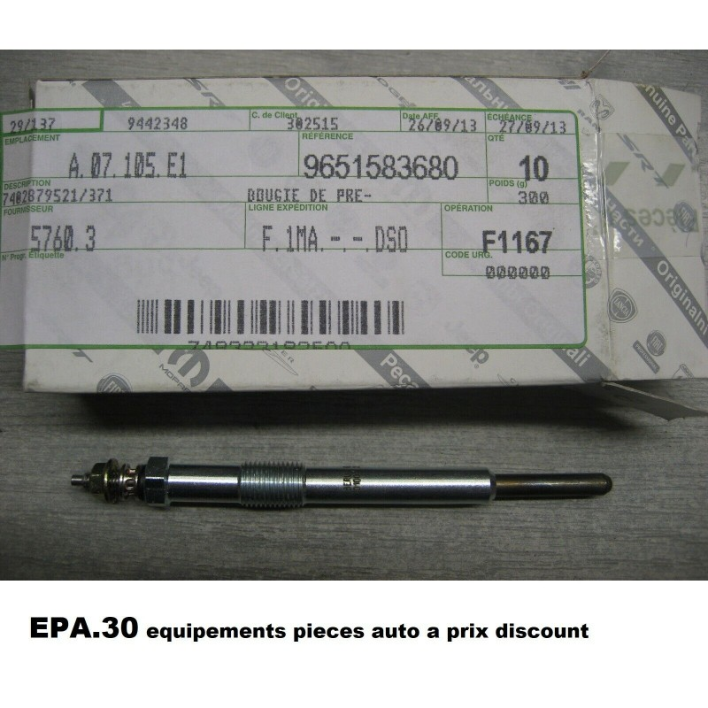 BOUGIE PRECHAUFFAGE PEUGEOT 307 308 406 407 508 607 807 BOXER EXPERT CITROEN C4 C5 C8 JUMPER JUMPY SCUDO ULYSSE - EPA30.